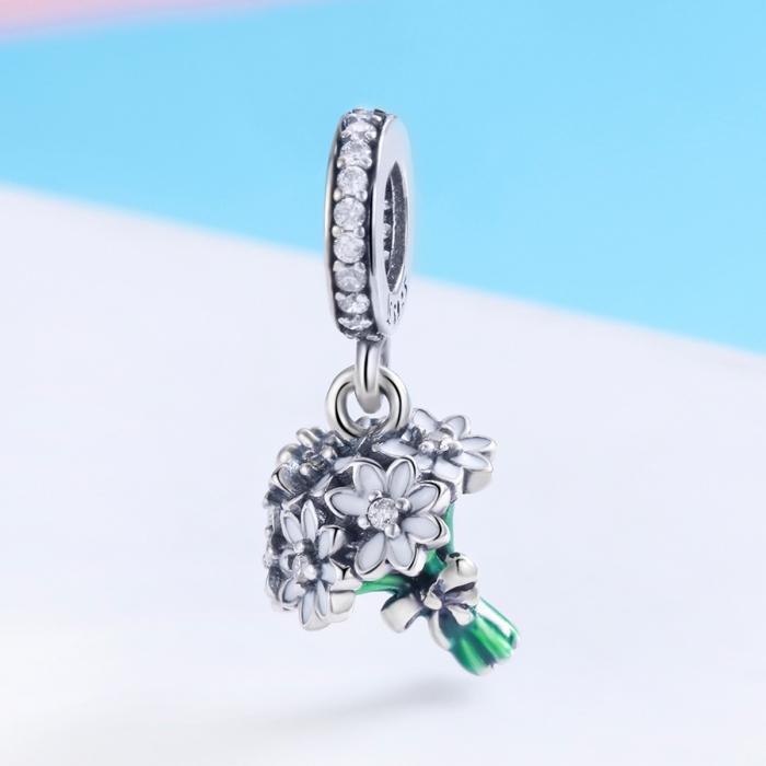 Charm argint 925 buchet de floricele cu zirconii albe - Be Nature PST0140 1