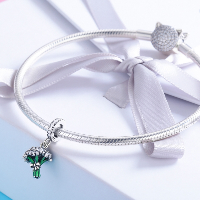 Charm argint 925 buchet de floricele cu zirconii albe - Be Nature PST0140 2