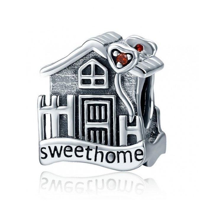 Charm argint 925 casuta Sweet Home cu inimioare rosii PST0107 0