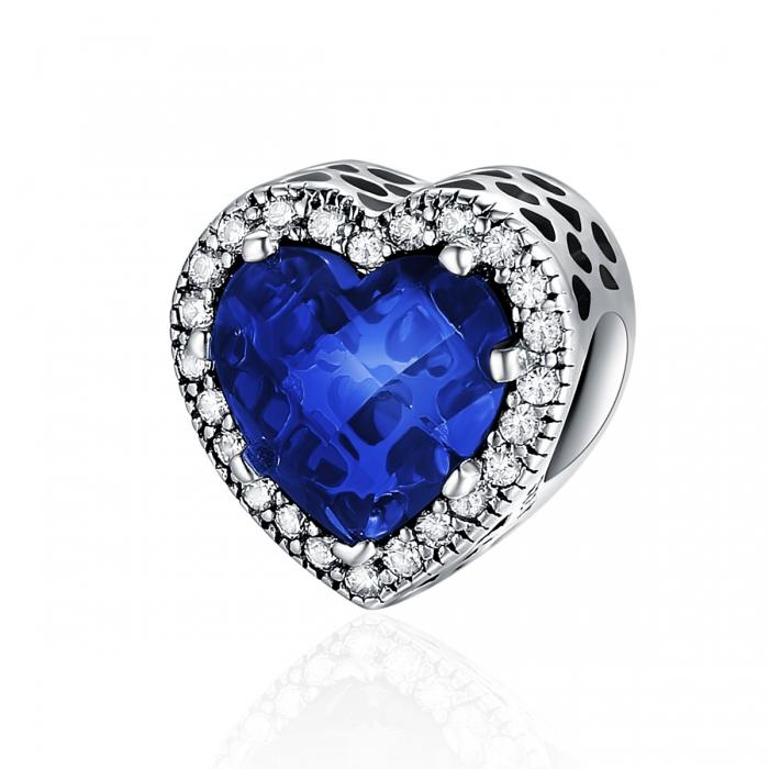 Charm argint 925 cristal albastru cu inimioare si zirconii albe - Be in Love PST0101 0