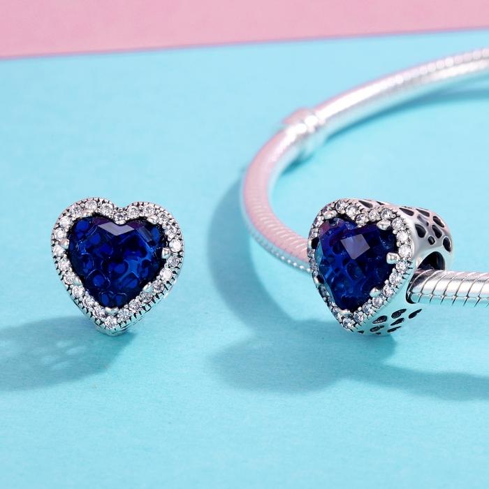 Charm argint 925 cristal albastru cu inimioare si zirconii albe - Be in Love PST0101 1