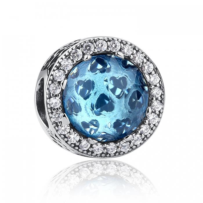 Charm argint 925 cristal bleu cu inimioare si zirconii albe - Be in Love PST0033 0