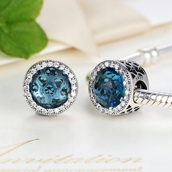 Charm argint 925 cristal bleu cu inimioare si zirconii albe - Be in Love PST0033 4