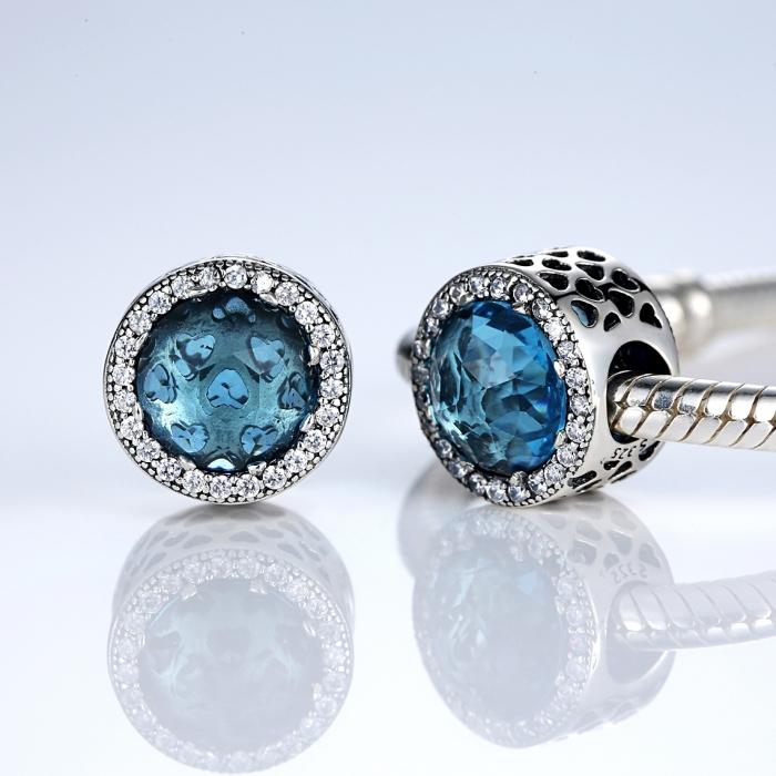 Charm argint 925 cristal bleu cu inimioare si zirconii albe - Be in Love PST0033 1