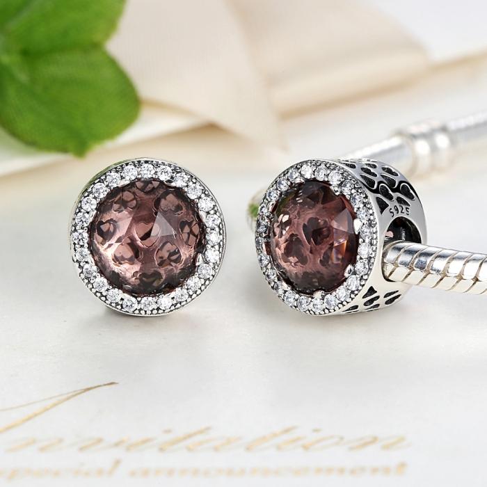 Charm argint 925 cristal maro cu inimioare si zirconii albe - Be in Love PST0025 3