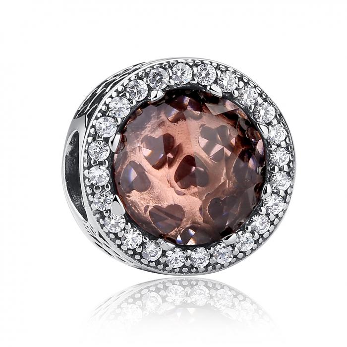Charm argint 925 cristal maro cu inimioare si zirconii albe - Be in Love PST0025 0