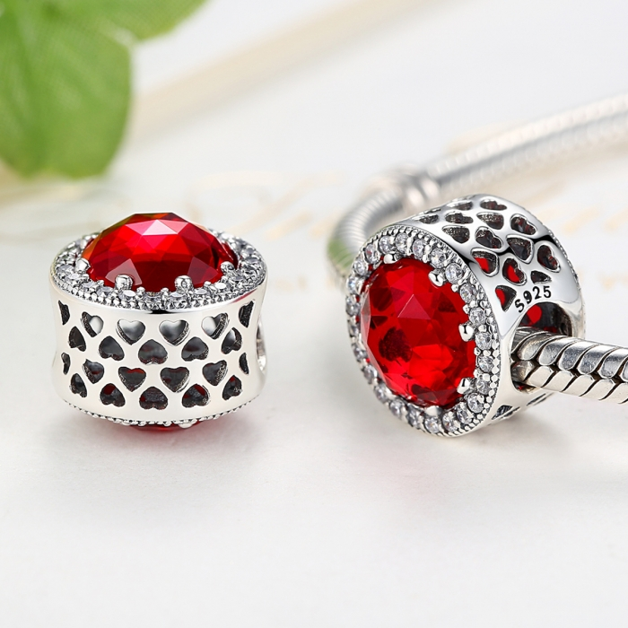 Charm argint 925 cristal rosu cu zirconii albe - Be Elegant PST0039 1
