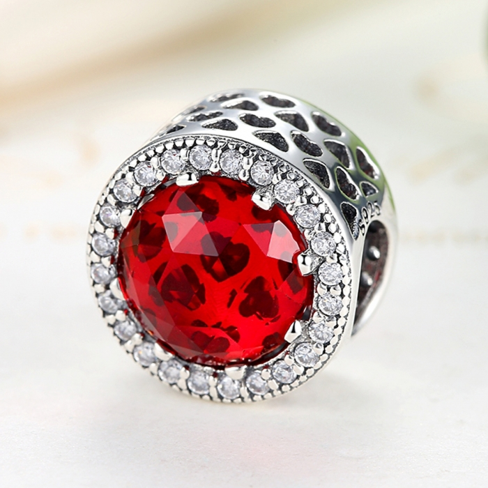 Charm argint 925 cristal rosu cu zirconii albe - Be Elegant PST0039 3