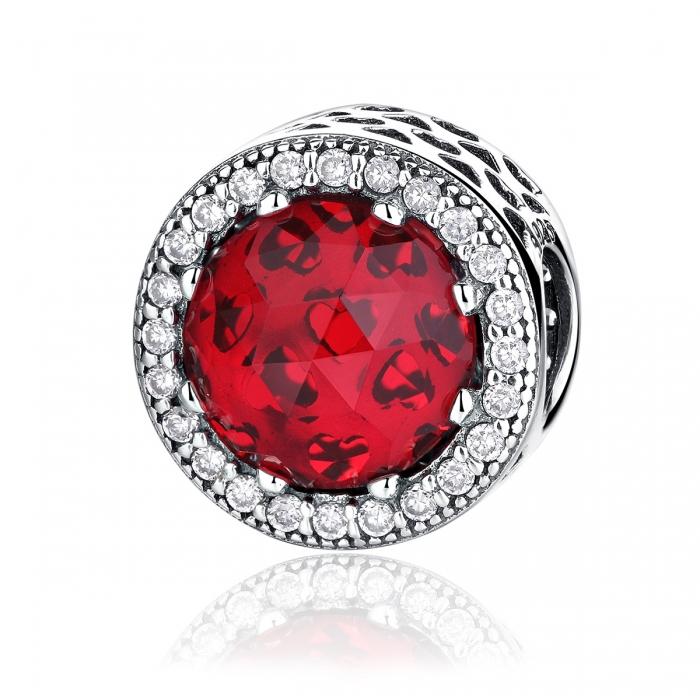 Charm argint 925 cristal rosu cu zirconii albe - Be Elegant PST0039 0