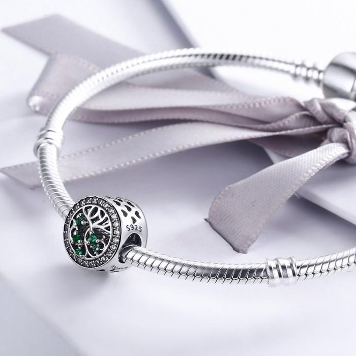 Charm argint 925 cu copacul vietii si zirconii albe si verzi - Be Nature  PST0083 [4]