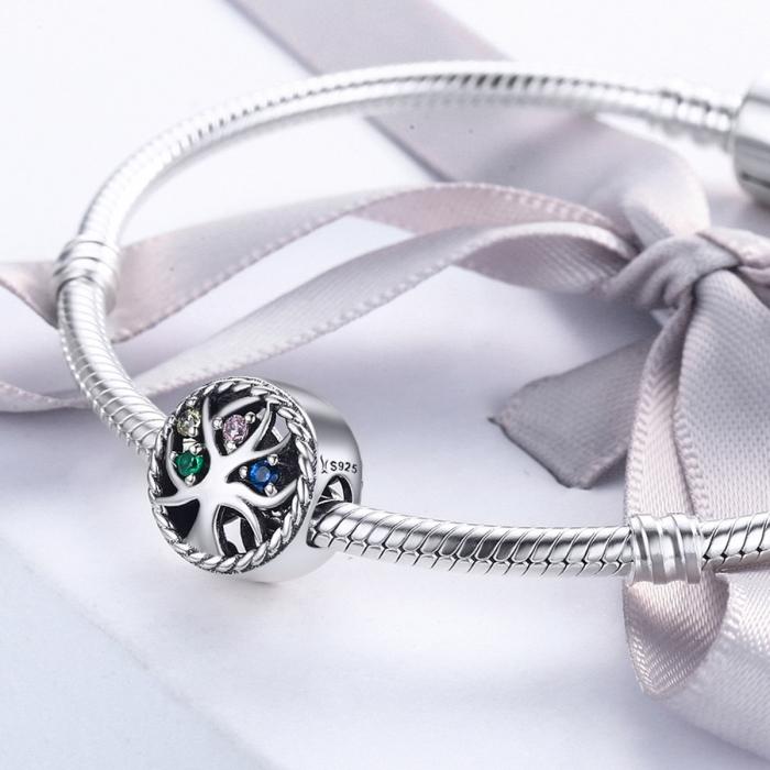 Charm argint 925 cu copacul vietii si zirconii multicolore - Be Nature  PST0086 4