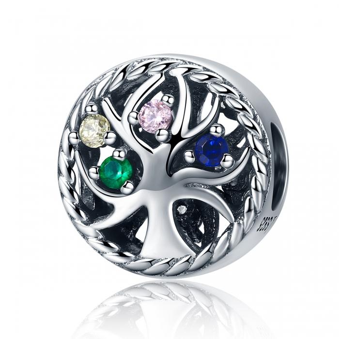 Charm argint 925 cu copacul vietii si zirconii multicolore - Be Nature  PST0086 0