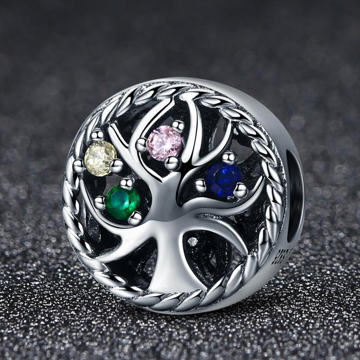 Charm argint 925 cu copacul vietii si zirconii multicolore - Be Nature  PST0086 2