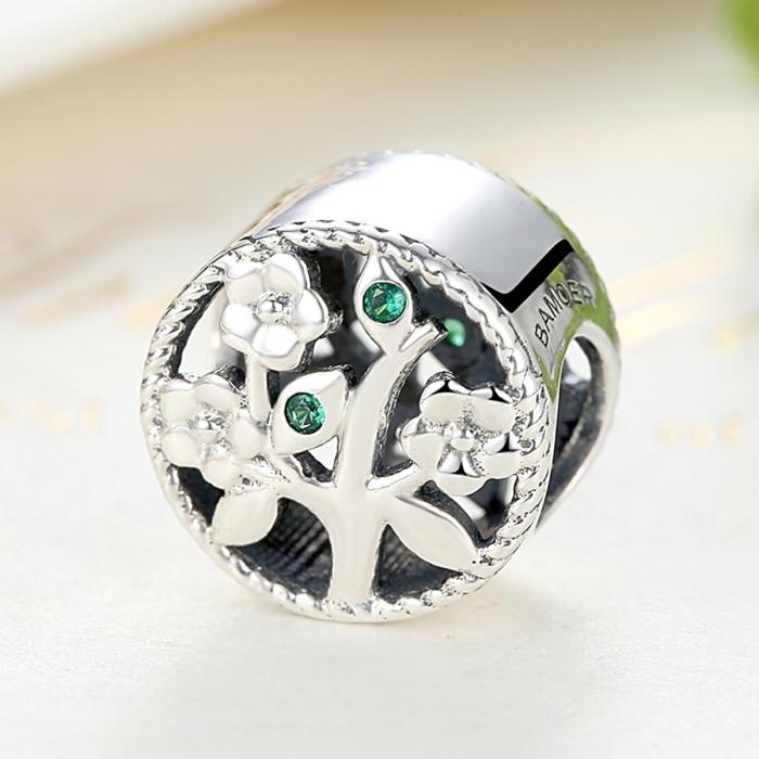 Charm argint 925 cu copacul vietii si zirconii verzi - Be Nature  PST0059 3