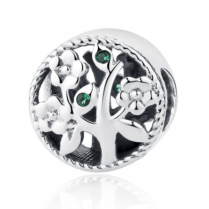 Charm argint 925 cu copacul vietii si zirconii verzi - Be Nature  PST0059 0