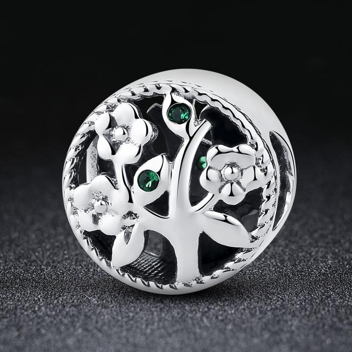 Charm argint 925 cu copacul vietii si zirconii verzi - Be Nature  PST0059 1