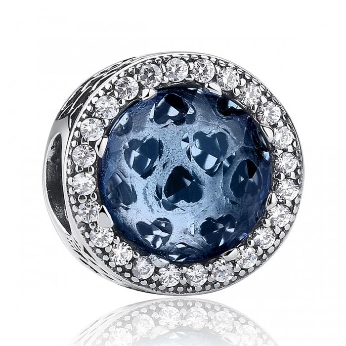 Charm argint 925 cu cristal albastru cu inimioare si zirconii albe - Be in Love PST0047 0