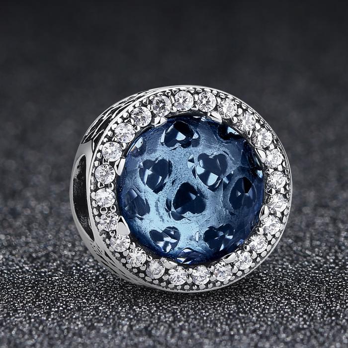 Charm argint 925 cu cristal albastru cu inimioare si zirconii albe - Be in Love PST0047 1