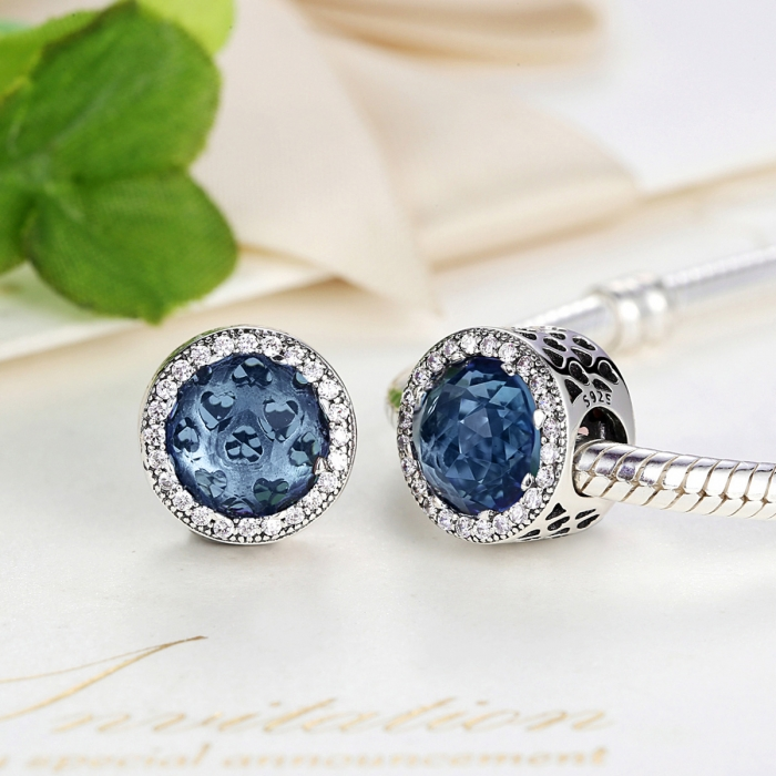 Charm argint 925 cu cristal albastru cu inimioare si zirconii albe - Be in Love PST0047 4