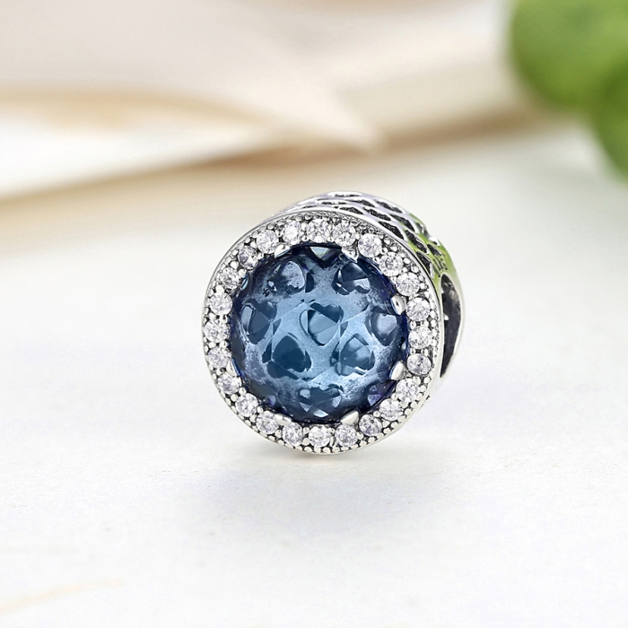 Charm argint 925 cu cristal albastru cu inimioare si zirconii albe - Be in Love PST0047 2