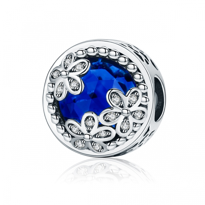 Charm argint 925 cu cristal albastru, floricele si zirconii albe - Be Nature PST0077 0