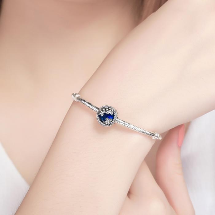 Charm argint 925 cu cristal albastru, floricele si zirconii albe - Be Nature PST0077 4