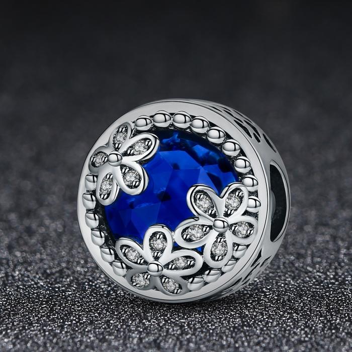 Charm argint 925 cu cristal albastru, floricele si zirconii albe - Be Nature PST0077 1