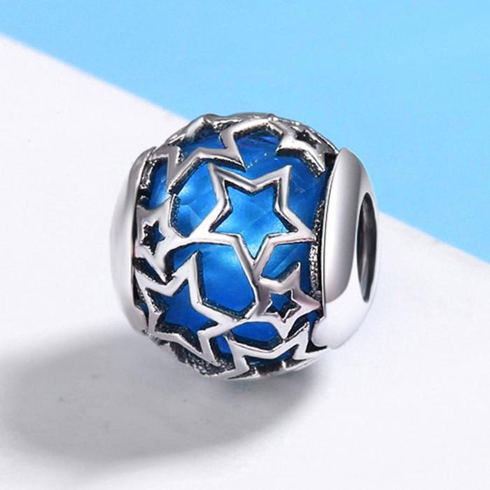 Charm argint 925 cu cristal albastru si stelute argintii - Be Nature PST0116 2