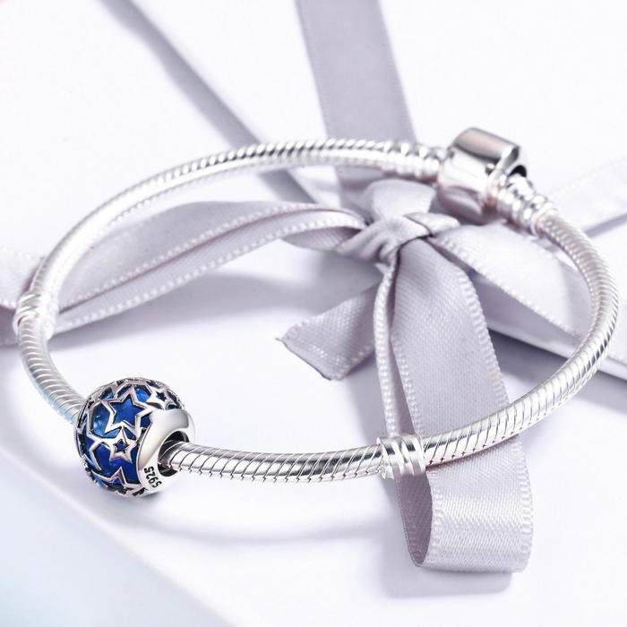 Charm argint 925 cu cristal albastru si stelute argintii - Be Nature PST0116 3