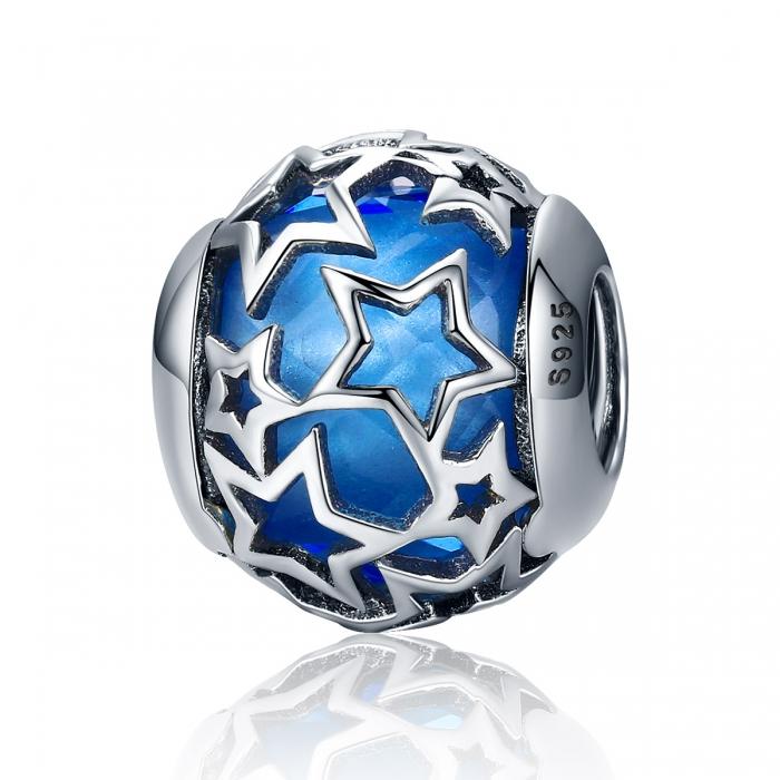Charm argint 925 cu cristal albastru si stelute argintii - Be Nature PST0116 0