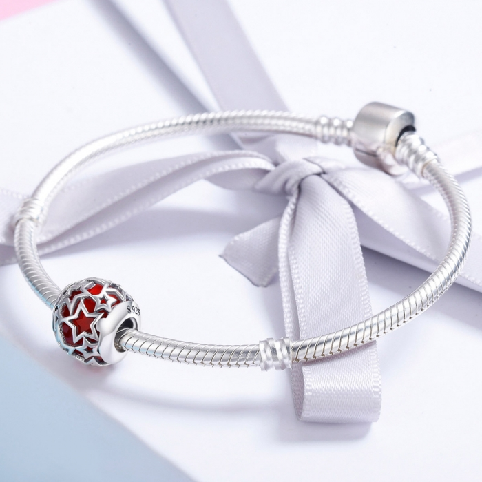 Charm argint 925 cu cristal rosu si stelute argintii - Be Nature PST0115 3
