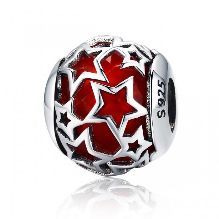 Charm argint 925 cu cristal rosu si stelute argintii - Be Nature PST0115 0