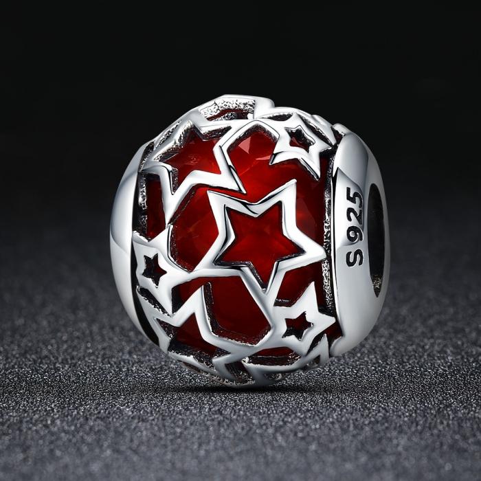 Charm argint 925 cu cristal rosu si stelute argintii - Be Nature PST0115 1