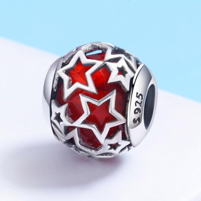 Charm argint 925 cu cristal rosu si stelute argintii - Be Nature PST0115 2
