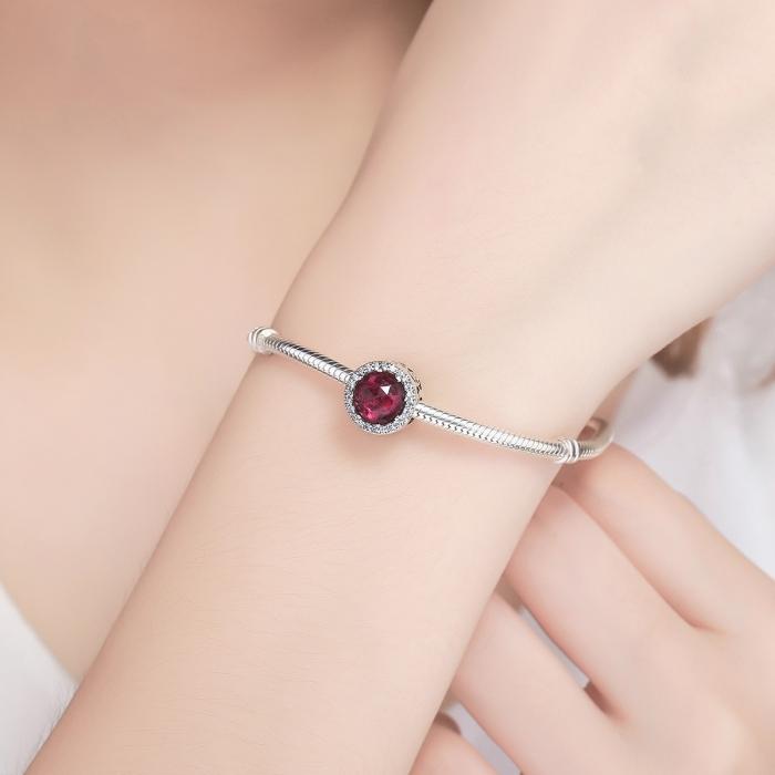 Charm argint 925 cu cristal rosu si zirconii albe - Be Elegant PST0078 4