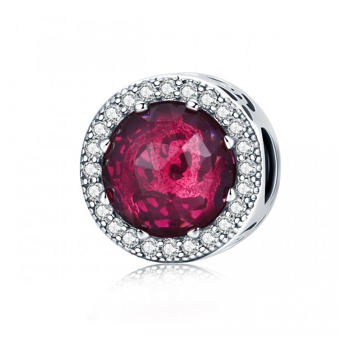 Charm argint 925 cu cristal rosu si zirconii albe - Be Elegant PST0078 0