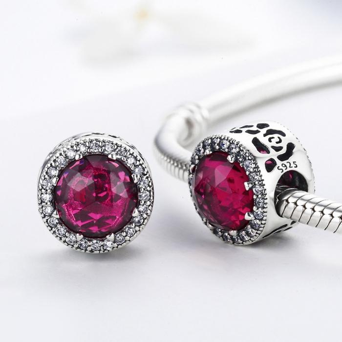 Charm argint 925 cu cristal rosu si zirconii albe - Be Elegant PST0078 2