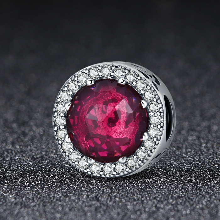 Charm argint 925 cu cristal rosu si zirconii albe - Be Elegant PST0078 1