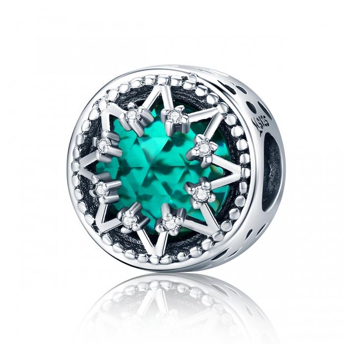 Charm argint 925 cu cristal turcoaz, fulg de nea si zirconii albe - Be Nature PST0110 0