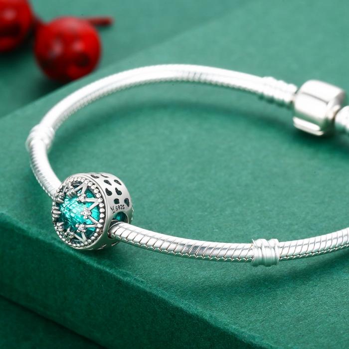 Charm argint 925 cu cristal turcoaz, fulg de nea si zirconii albe - Be Nature PST0110 4