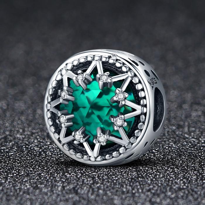 Charm argint 925 cu cristal turcoaz, fulg de nea si zirconii albe - Be Nature PST0110 1