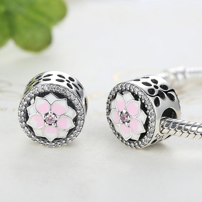 Charm argint 925 cu floare roz si zirconii albe - Be Nature PST0049 3
