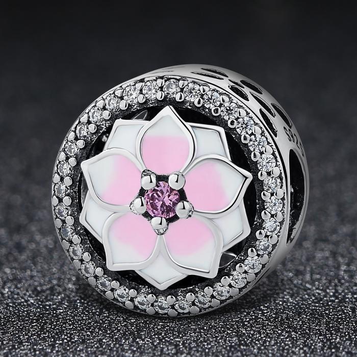 Charm argint 925 cu floare roz si zirconii albe - Be Nature PST0049 1