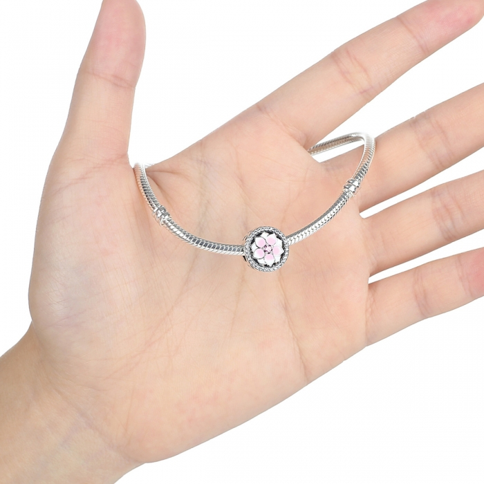 Charm argint 925 cu floare roz si zirconii albe - Be Nature PST0049 4