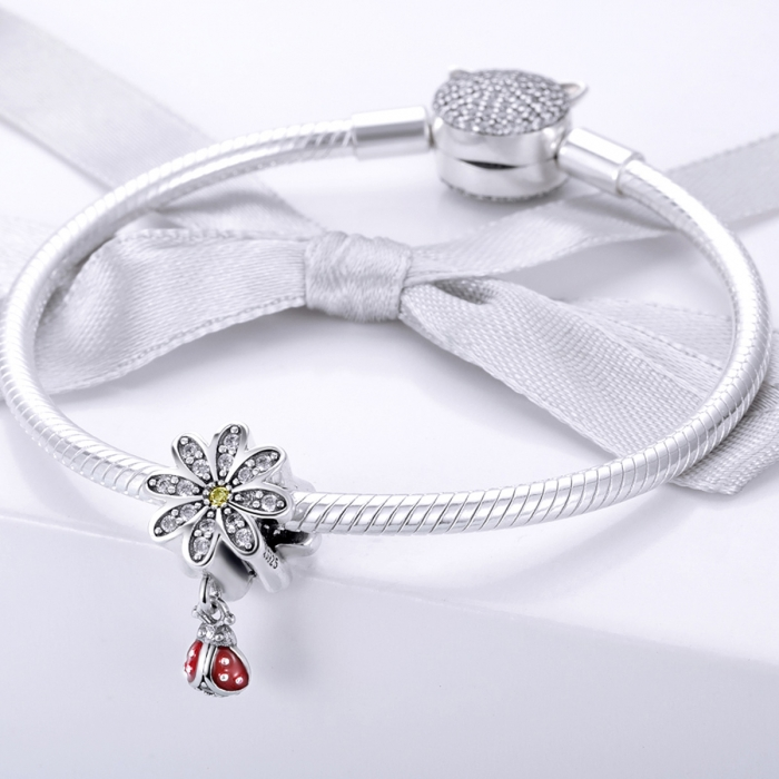 Charm argint 925 cu floare si gargarita - Be Lucky PST0134 1