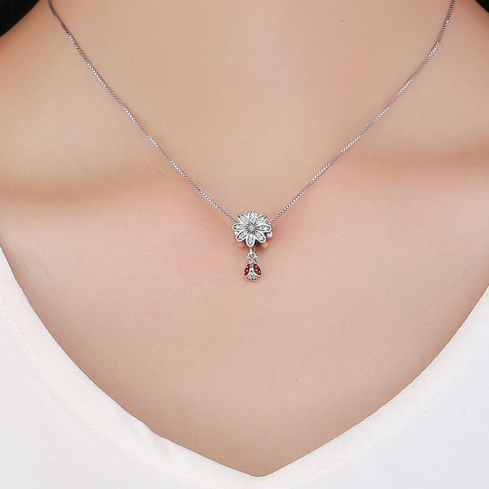 Charm argint 925 cu floare si gargarita - Be Lucky PST0134 2