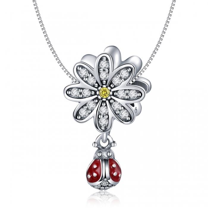 Charm argint 925 cu floare si gargarita - Be Lucky PST0134 5