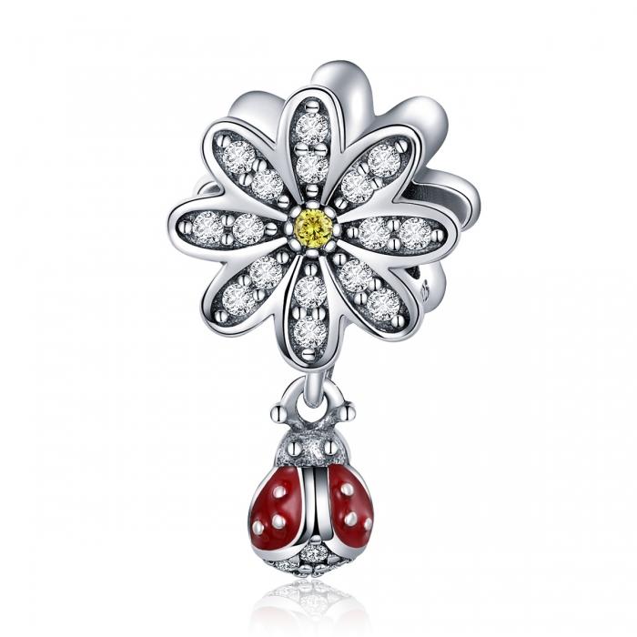 Charm argint 925 cu floare si gargarita - Be Lucky PST0134 0