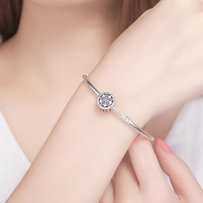 Charm argint 925 cu floare si zirconii albe si roz - Be Nature PST0081 4