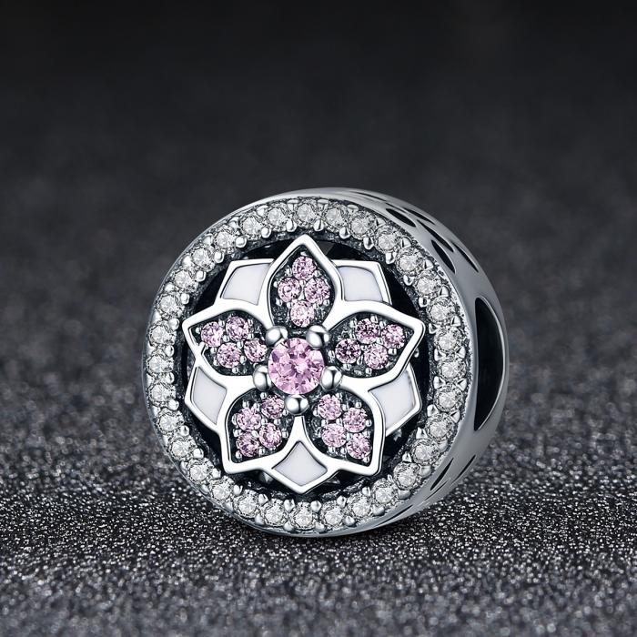 Charm argint 925 cu floare si zirconii albe si roz - Be Nature PST0081 2